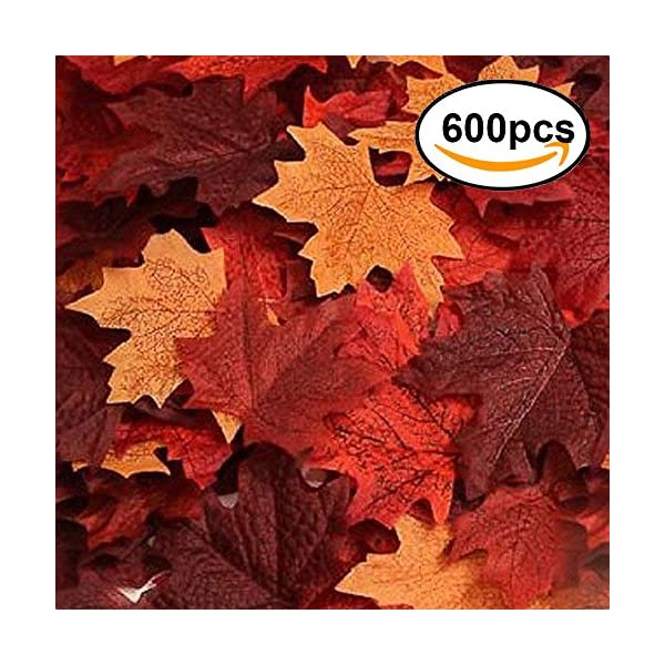 ECHODONE 600PCS Artificial Maple Leaves Decorations Autumn Fall Leaves for Thanksgiving Autumn Leaf Wedding Party