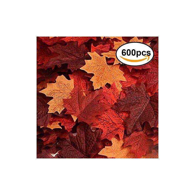 silk flower arrangements echodone 600pcs artificial maple leaves decorations autumn fall leaves for thanksgiving autumn leaf wedding party