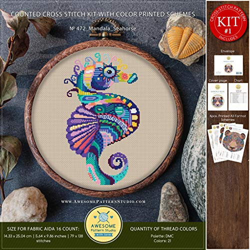 Mandala Seahorse #K472 Cross Stitch Embroidery Kit | Funny Animals Cross Stitch Patterns | Cross Stitch World | Needlepoint | Counted Cross Stitch -