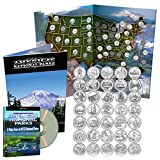 National Park Quarters Complete Date Set 2010-2016, First 35 America the Beautiful Coins in Deluxe Color Book + DVD