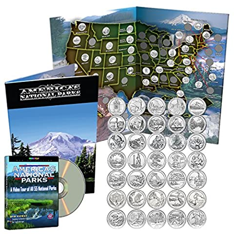 National Park Quarters Complete Date Set 2010-2016, First 35 America the Beautiful Coins in Deluxe Color Book + - State Quarter Collection