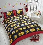 Emoji King Size Duvet Christmas Emoji Reversible Duvet Quilt Cover Bed Set White Black - UK King / US Queen