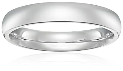 Standard Comfort Fit 18K White Gold Band 4mm Size 4