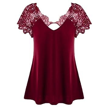 LILICAT® Camisetas Mujer Tallas Grandes, Blusas Tops de Encaje Elegante con Cuello en V