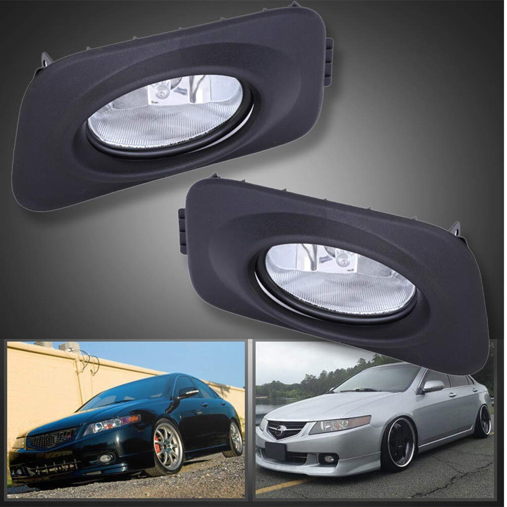 Arrowsy New Clear Bumper Driving Fog Lights + Bulbs + Switch for Acura TSX JDM 2004-2005- US Stock by Arrowsy