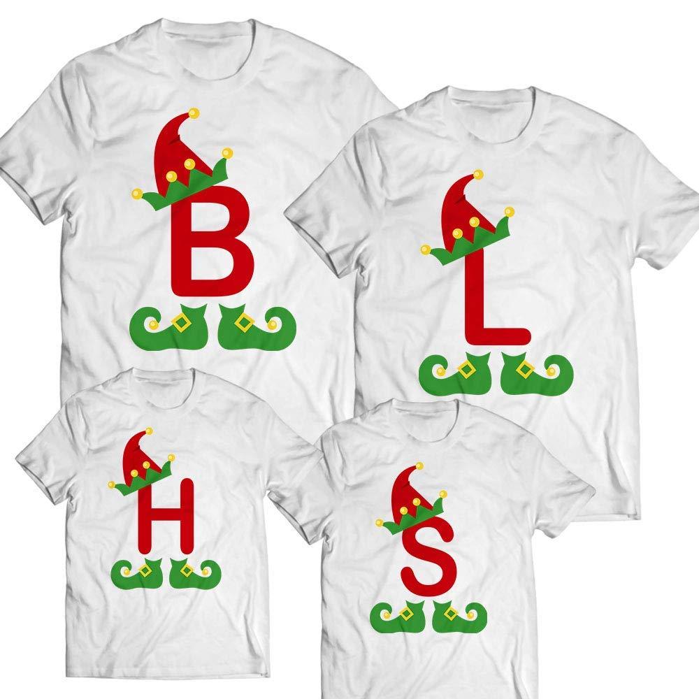 83eb4538b8b Amazon.com: ELF Alphabet Letter Elf Hat Monogram Team Elf Lover Christmas  Santa Customized Handmade T-shirt/Hoodie / Sweater/Long Sleeve/Tank  Top/Premium ...
