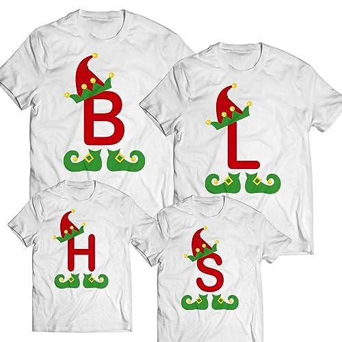 948eef0d14 Amazon.com  ELF Alphabet Letter Elf Hat Monogram Team Elf Lover Christmas  Santa Customized Handmade T-shirt Hoodie   Sweater Long Sleeve Tank  Top Premium ...