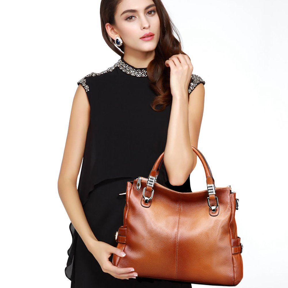 S-ZONE Women's Vintage Genuine Leather Tote Shoulder Bag Top-handle Crossbody Handbags Ladies Purse (Brown) by S-ZONE (Image #2)