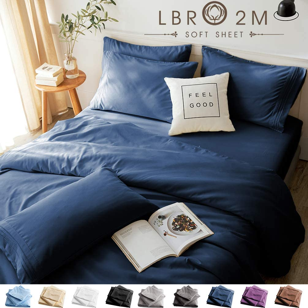 LBRO2M Bed Sheets Set California King Size 6 Piece 16 Inches Deep Pocket 1800 Thread Count 100% Microfiber Sheet,Bedding Super Soft Hypoallergenic Breathable,Resistant Wrinkle Cool Warm (Navy Blue)