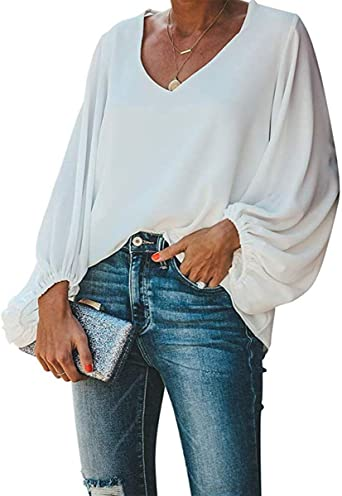 Style Dome Camisetas Mujer Manga Larga Blusa Casual Mujer Tops T-Shirt Cuello V Camisa Color Sólido Jumper Blanco L