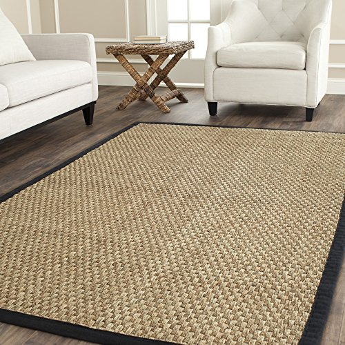 Safavieh Natural Fiber Collection NF114C Basketweave Natural and  Black Seagrass Area Rug (8' x 10')