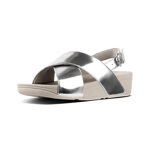 e9aac7d13262 Fitflop Women s LULU Cross Back-Strap Sandals-Mirror Open Toe (Silver 300)