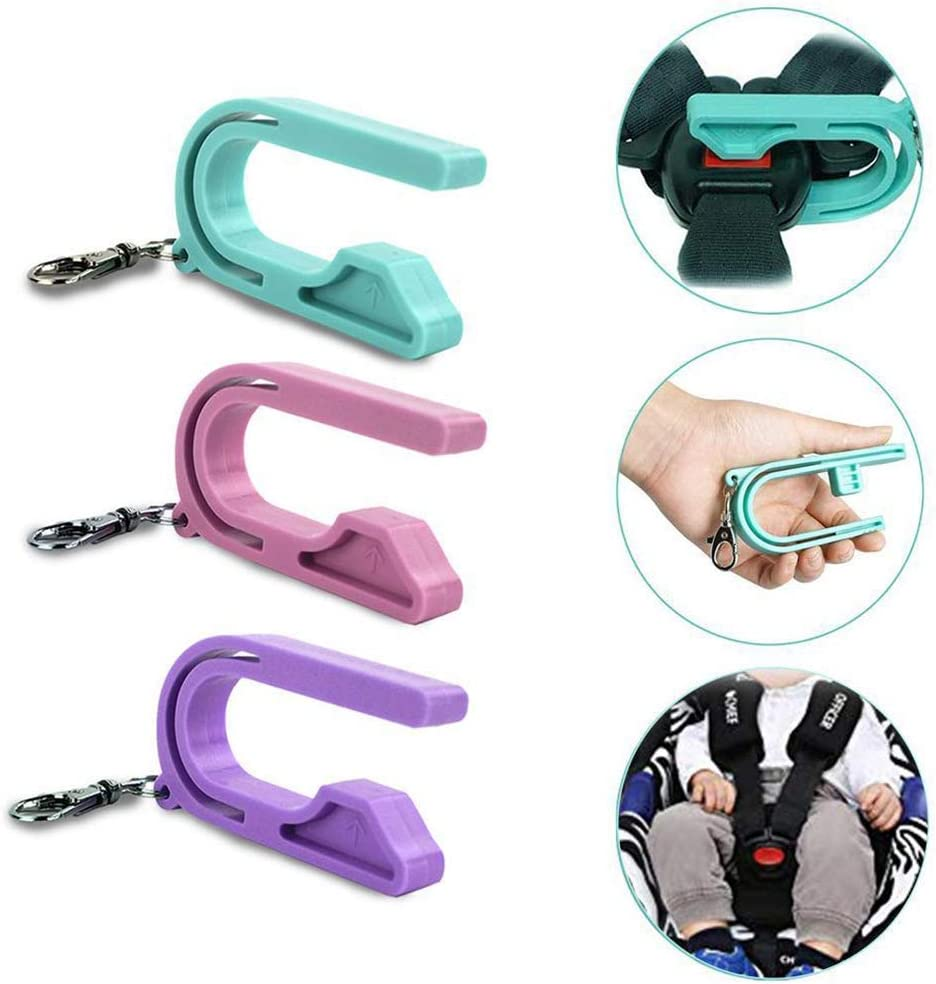 The Car Seat Key Car Seat Safety Buckle Key Chain Anti Escape Child Safety Belt Keychain Easy Buckle Release Tool 2pcs, Light Blue