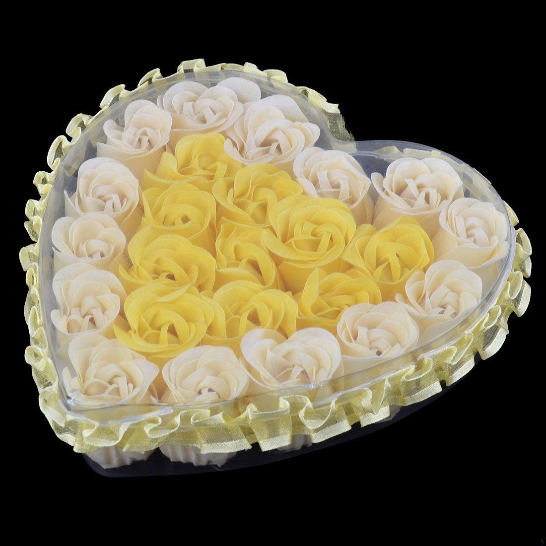 Amazon.com: eDealMax Corazón Festival de Regalo en Forma de caja 24pcs del cordón de la decoración de jabón Hecho a Mano Flor de Rose amarilla: Home & ...