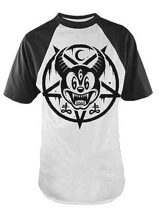 e8a2f7b25 Darkside Clothing Mickey 666 Mens Baseball T-Shirt: Amazon.co.uk: Clothing