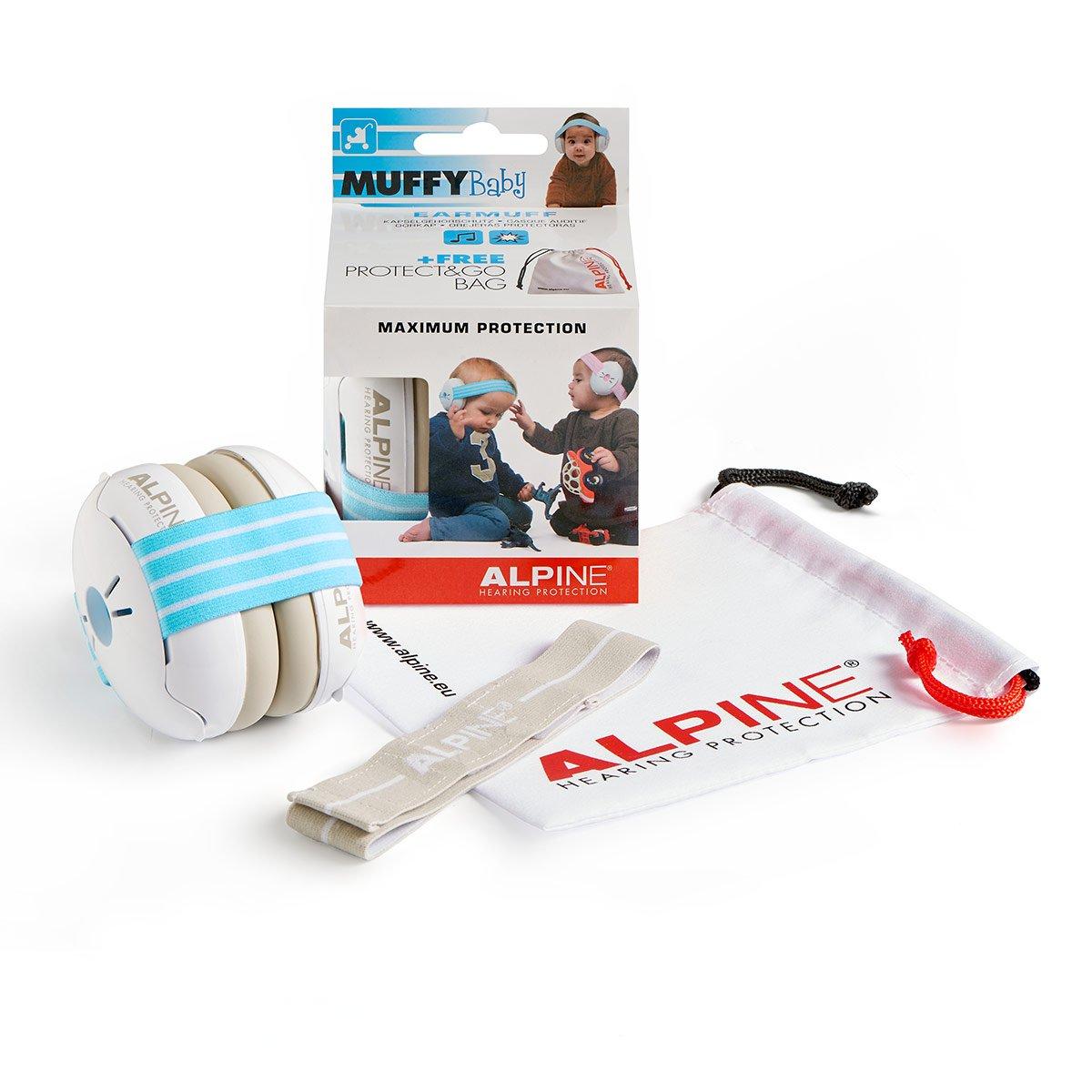 Alpine Muffy Baby - Cuffia Protettiva con Padiglione Auricolare per Neonati - Bleu/Blanc Alpine Hearing Protection AMS-MUFFY-BABY-BLU