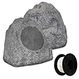 Theater Solutions 2R8G Outdoor Granite 8'' Rock 2 Speaker Set with Wire for Yard Pool Spa Garden