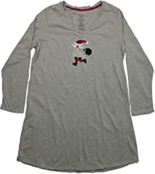 099e2df330 White Stag Womens Gray Santa Sleep Shirt Long Sleeve Nightgown Nightie