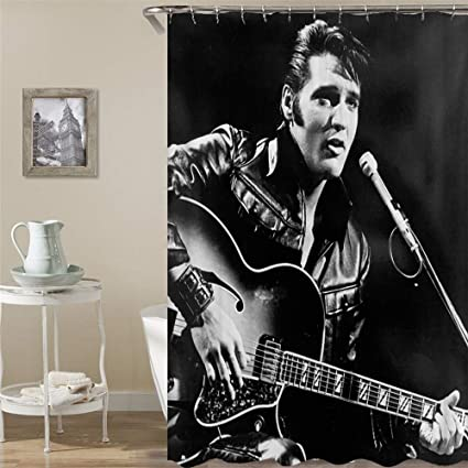 BARTORI Cartoon Decor Shower Curtain The Superstar Elvis Presley Hold Guitar Black And White Photograph
