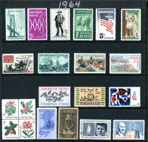 - COMPLETE MINT SET OF POSTAGE STAMPS ISSUED IN THE YEAR 1964 BY THE U.S. POST OFFICE DEPT. (Total 21 Stamps)