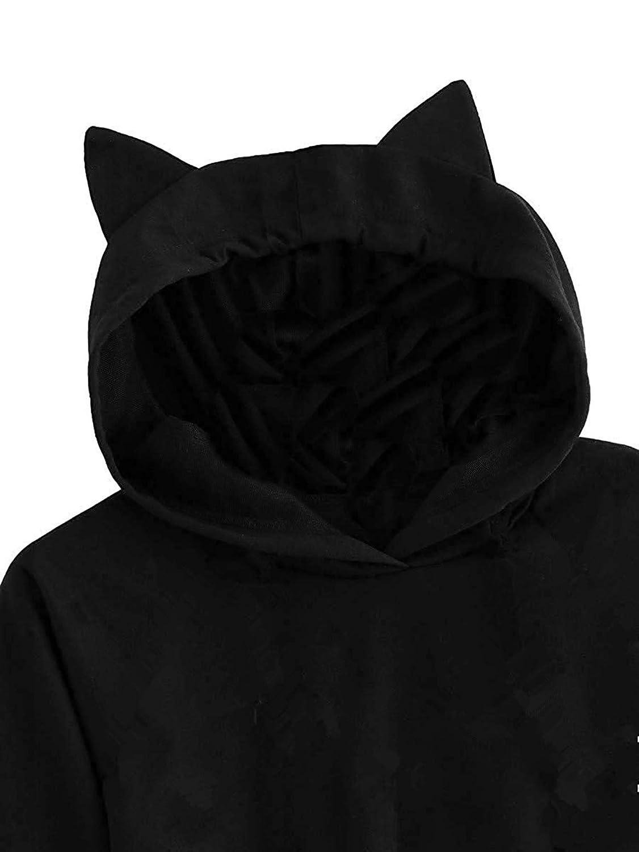 Junccj Ladies Acmiran Eeyore Solid Black Crop Top Cat Ear Pullover Long Sleeve