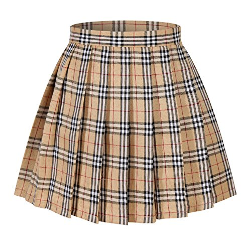 Apparel School Plaid Skirt (Girl's School Uniform Plaid Pleated Costumes Skirts (M, Yellow mixed white))