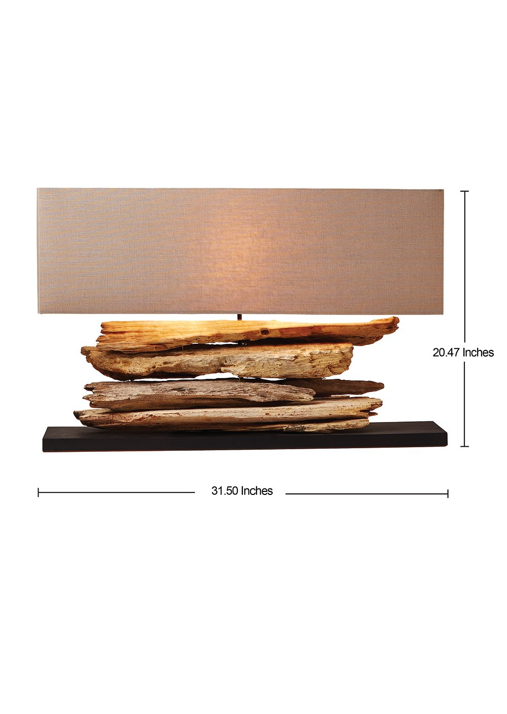 O'THENTIQUE Driftwood Branch Table Lamp | Rustic Salvaged Natural Wood | Brown Shade Perfect as Entry Table Lamp, Sofa Table Lamp for Beach House, Cottage, Cabin, Bedroom, Living Room Decoration by O'THENTIQUE