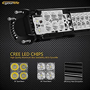 20 Inch Led Light Bar Eyourlife 126W Led Fog Driving Lights Waterproof IP67 Bumper Grill Roof Tail Light Bar Truck Off road Vehicle with 180 Degree Slide Mounting Brackets + 3 YEARS WARRANTY