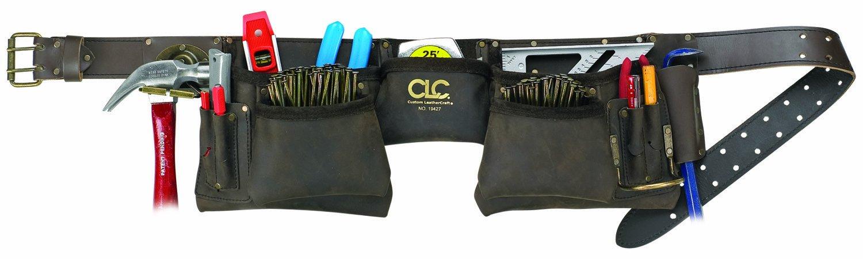 CLC Custom Leathercraft 19427 Construction Work Apron, Oiled Leather, 12 Pocket