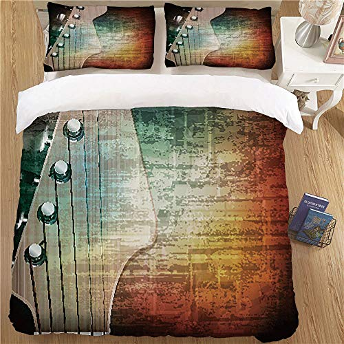Giraffe Head Peg - Fashion Kids Duvet Cover Set,King Size,3 Piece for Young People's Rooms Guitar Abstract Grunge Retro Background with Headstock and Tuning Pegs Blues Jazz Musician Multicolor