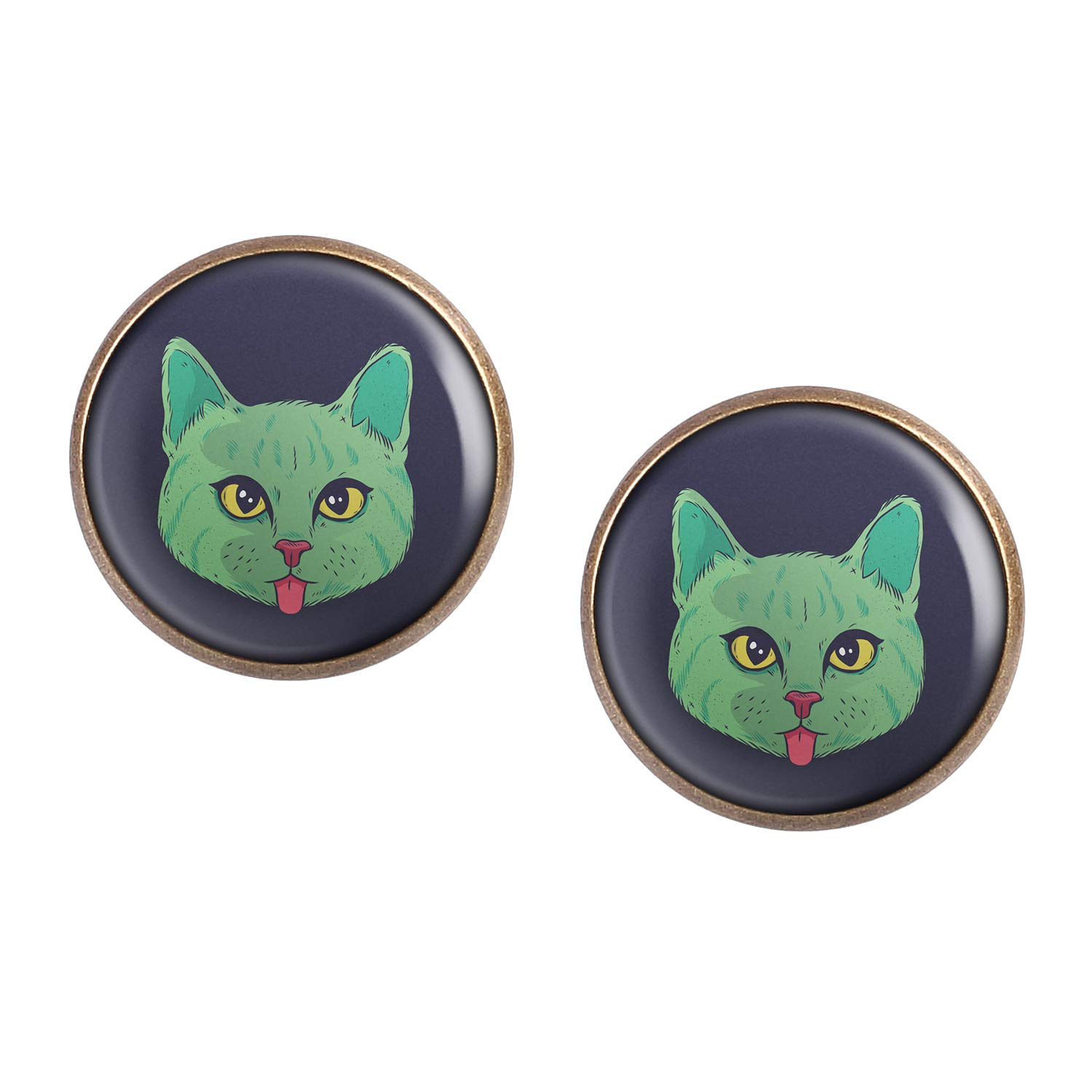 Stud Earring Pair with Cabochon Picture Cat head green tongue bronze different sizes