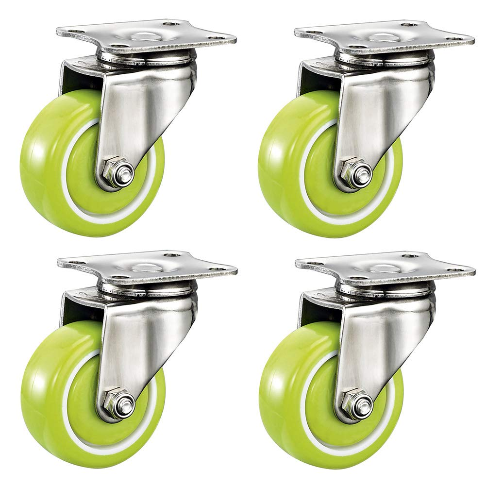 40/50mm (1.5/2in) Swivel Castors, 4 Green Computer Chair Casters, Rubber Replacement Casters, Silent/with Brake by Furniture casters