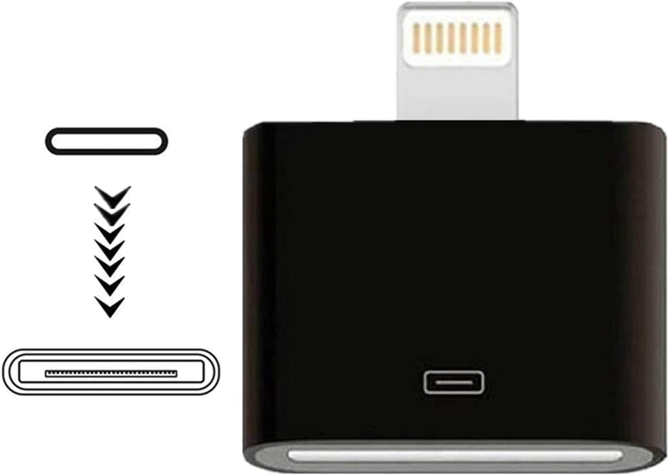 [MFi Certified] iPhone Lightning to 30-Pin Adapter,Sharllen 8-Pin Male to 30-Pin Female Charging & Sync Converter Connector Compatible iPhone 12 11 X 8 7 6P 5S 4S 4 3 3G/iPad/iPod Black(No Audio)
