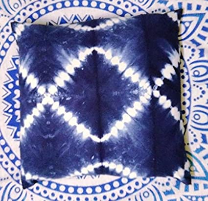 Amazon Com Traditional Jaipur Indigo Pillow Tie Dye Cushions 16x16