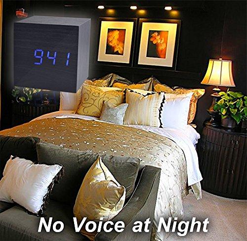 Beautys 101 Wooden Digital Alarm Clock- Premium Multifunction Electronic LED Digital Alarm Clock For Bedroom, Kids' Room & Travel- Modern, Stylish & Reliable Alarm Clock (Blue Light - Black Wood) by Beautys 101 (Image #7)