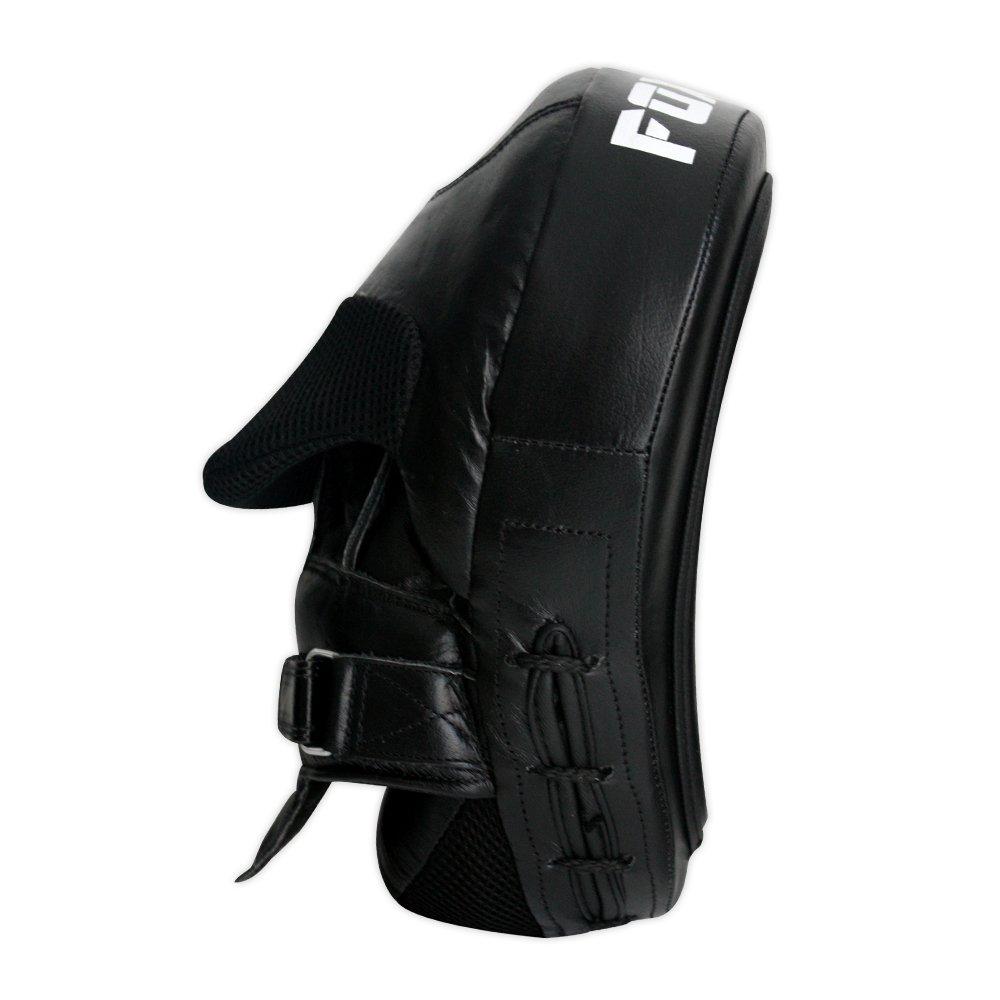 Funda de piel FOX-FIGHT 1 par GEL paos de curvadas con cierre de velcro para artes de boxeo//negro