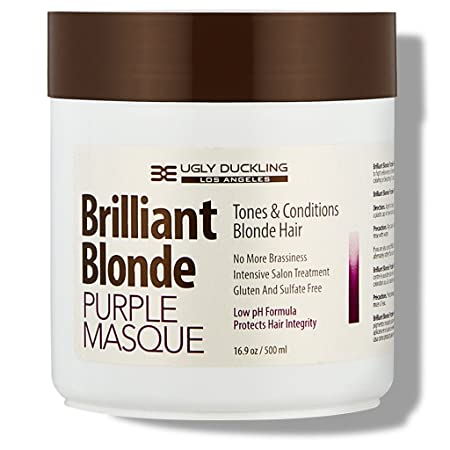 Brilliant Blonde Purple Mask 16.9 oz 500 ml . Tones Conditions Blonde Hair. Low pH Formula, Sulfate Free, Gluten Free