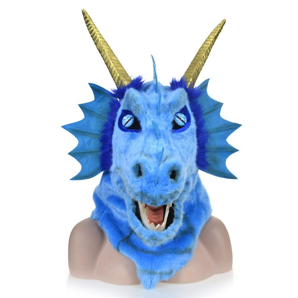 KX-QIN Custom Design Moving Mouth Blue Dragon Head Colorful Animal Fur Party mask Factory Deluxe Novelty Halloween Costume Party Latex Animal Head Mask for Adults and Kids (Color : Blue) by KX-QIN