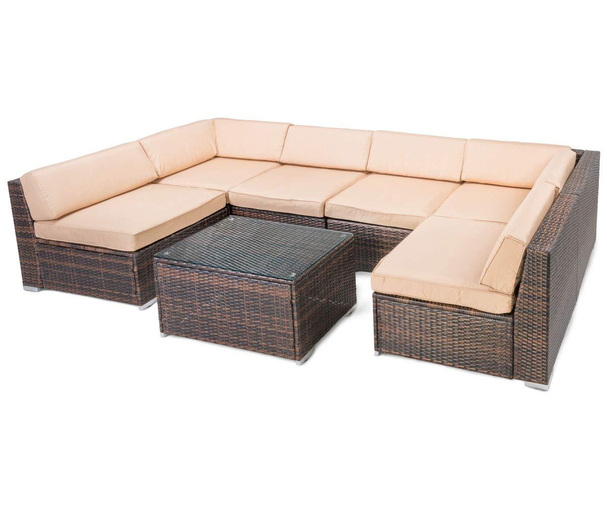 Astonishing 7 Pcs Rattan Outdoor Furniture Set Pamapic Garden Lawn Sofa Cjindustries Chair Design For Home Cjindustriesco