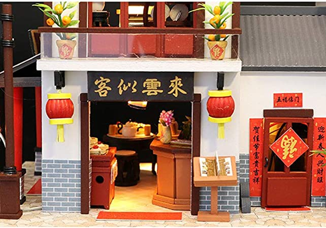 Miniature Dollhouse Kits Music Mini House Apartment Cottage with Swimming Pool for Christmas Birthday DIY Doll House Kit Assembled Jiang Hui Dollhouse Kit