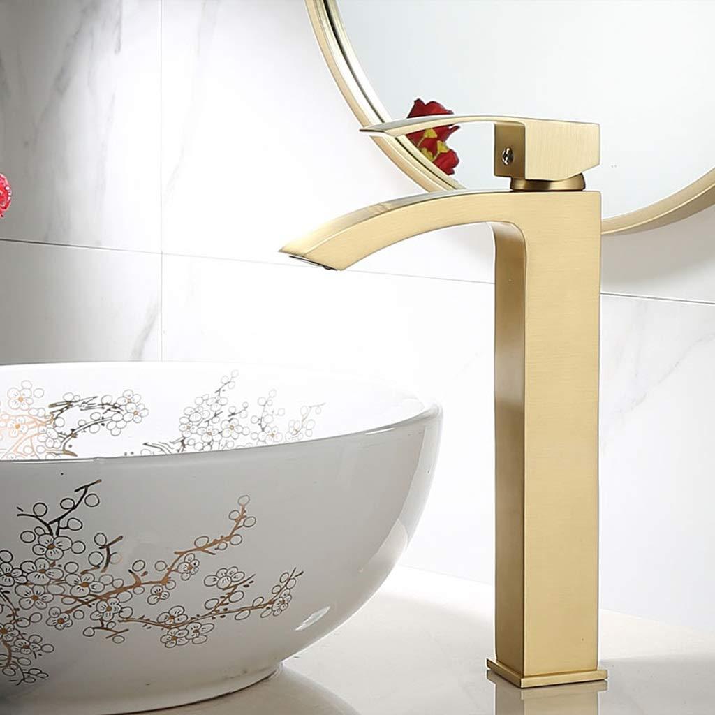 Medium Niuniu Brass Brushed gold Single Lever Bathroom Basin Mixer Tap Sink Faucet (Size   M)