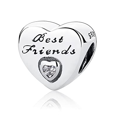 5dfe63500 Authentic Friendship Heart, Clear CZ 925 Sterling Silver Charms Fit Pandora  & Other European Charm Bracelets: Amazon.co.uk: Jewellery