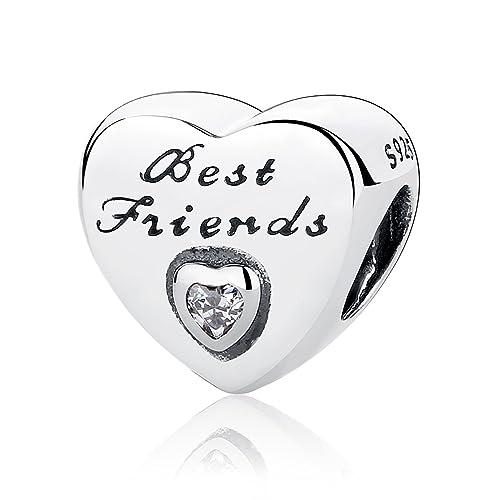 9cb3e2e2da1572 Authentic amicizia cuore, zirconia cubica, in argento Sterling 925 ciondoli  Pandora e altri braccialetti europei: Amazon.it: Gioielli