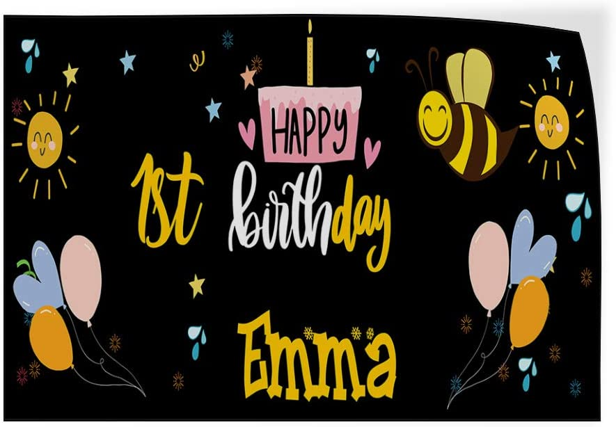 Custom Door Decals Vinyl Stickers Multiple Sizes Happy Age Birthday Girl Name Bee Lifestyle Happy Birthday Signs Outdoor Luggage /& Bumper Stickers for Cars Black 52X34Inches Set of 5