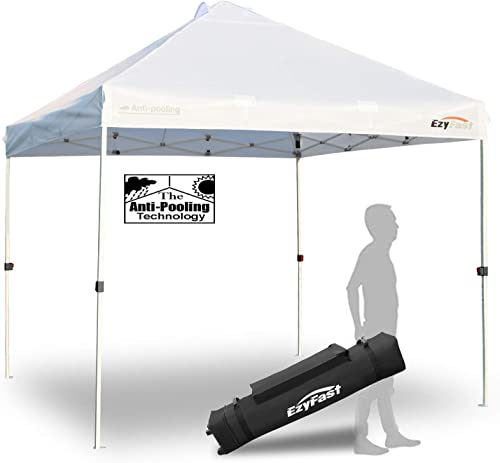 EzyFast Antipool Pro Commercial Canopy for Rain or Sunshine, White Heavy Duty 10 x10 Pop Up Vented Canopy, Portable Patented Instant Shade Tent with Wheeled Carry Bag