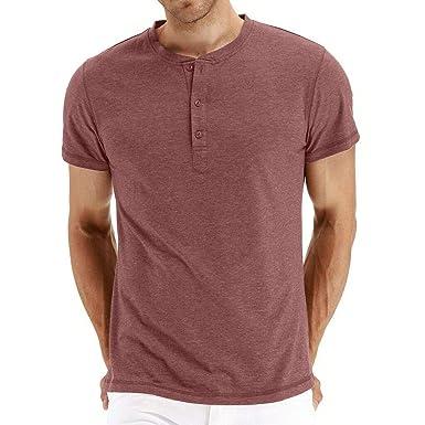 Camiseta Hombre Verano Manga Corta Color sólido Moda Diario Slim ...