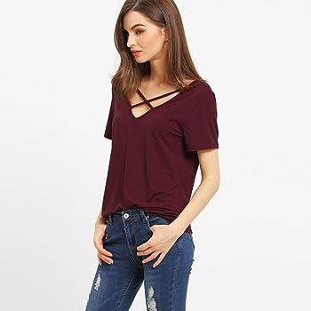 Camisas de Mujer Manga Corta, Camiseta de Blusa con Cuello en V Floja de Manga Corta para Mujer(S, Vino): Amazon.es: Ropa y accesorios