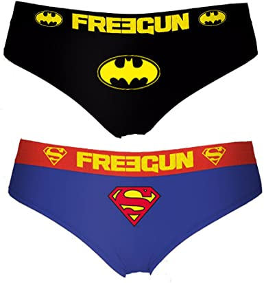 FREEGUN Pack de 2 Braguitas para Mujer DC Comics Batman Superman: Amazon.es: Ropa y accesorios
