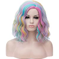 Mildiso Rainbow Wig Short Curly Bob Wavy Hair Wigs Colorful Cosplay Party Costume Wigs Full Heat Resistant Synthetic…