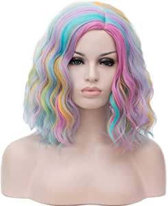 Mildiso Rainbow Wig Short Curly Bob Wavy Hair Wigs Colorful Cosplay Party Costume Wigs Full Heat Resistant Synthetic Wigs with Cap M058A